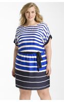 DKNY Belted Stripe Dress - Lyst