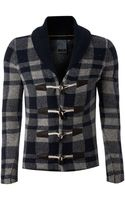 J.c. Rags Toggle Detail Check Cardigan - Lyst