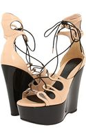 Alexander McQueen Lace Up Wedge Sandal  - Lyst