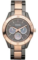 Fossil Chronograph Rose Gold and Smoke Ion Plated Stainless Steel Bracelet 37mm - Lyst