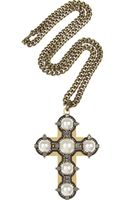 Lanvin Large Glass Pearl and Swarovski Crystal Cross Necklace - Lyst