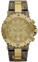 Michael Kors Womens Chronograph Brown Acetate and Gold Stainless Steel Bracelet 43mm - Lyst