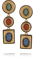 Oscar de la Renta 24karat Gold-Plated Semi Precious Stone Clip Earrings - Lyst