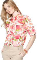Jones New York Long Sleeve Floral Print Cotton Button Down - Lyst