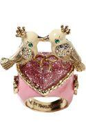 Betsey Johnson Love Birds Heart Ring - Lyst