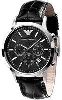 Emporio Armani Mens Black Leather Strap Watch  - Lyst