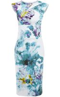 Karen Millen Light Floral Cotton Print Dress - Lyst