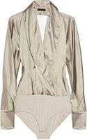 Donna Karan New York Satintwill Bodysuit - Lyst