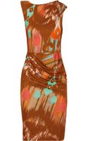Matthew Williamson Draped Printed Stretch Jersey Dress - Lyst