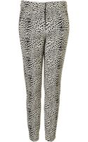 Topshop Animal Jacquard Cigarette Trousers - Lyst