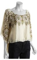 Free People Ivory Embroidered Follow The Sun Cropped Peasant Top - Lyst