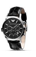 Emporio Armani Slim Black Watch with Leather Strap 43mm - Lyst