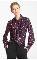 Marc Jacobs Tie Neck Silk Blouse - Lyst