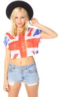 Nasty Gal Union Jack Crop Tee - Lyst