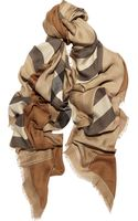 Burberry Checked Modal and Cashmere Blend Scarf - Lyst