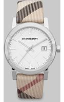 Burberry Check Stamped Round Stainless Steel Watch34mm - Lyst