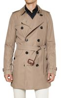 Burberry Double Breasted Cotton Trench Coat - Lyst