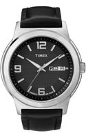 Timex® Mens Black Leather Strap Watch  - Lyst