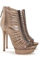 B Brian Atwood Open Toe Platform Strappy Bootie - Lyst