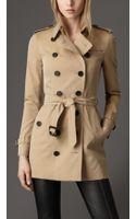Burberry Short Cotton Gabardine Trench Coat - Lyst