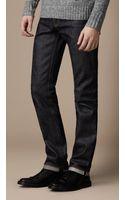 Burberry Steadman Raw Selvedge Slim Fit Jeans - Lyst