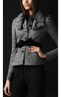 Burberry Prorsum Stretch Tweed Ruched Detail Jacket - Lyst