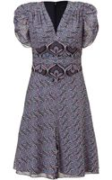 Anna Sui Black and Amethyst Art Deco Printed Dress - Lyst