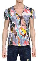 John Galliano Gazette Print Jersey V Neck T-shirt - Lyst
