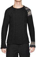 Miharayasuhiro Wool Cotton Mohair Aran Knit Sweater - Lyst