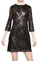 MSGM Laminated Cotton Lace Dress - Lyst