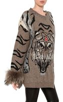 Philipp Plein Fox Fur Tiger Jacquard Wool Knit Coat - Lyst