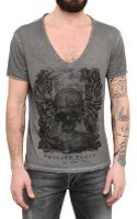Philipp Plein Swarovski On Raw Cut Dyed Jersey Tshirt - Lyst