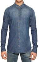 Dolce & Gabbana Washed Denim Shirt - Lyst