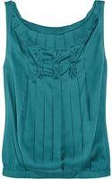Diane Von Furstenberg Mikaela Pleated Stretch Silk Top - Lyst