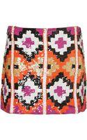Topshop Premium Aztec Sequin Skirt - Lyst