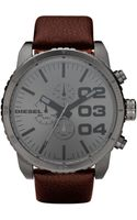 Diesel Chronograph Brown Leather Strap 58x52mm - Lyst