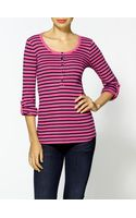 Splendid Florence Stripe 34 Sleeve Henley Top - Lyst