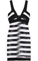 Hervé Léger Sequined Striped Bandage Dress - Lyst