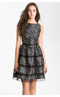 Taylor Dresses Belted Taffeta Fit and Flare Dress - Lyst