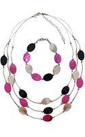 Eastex Three Tier 3 Coloured Necklace Bracelet Set - Lyst