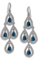 Carolee Silver Tone Pave Pear Chandelier Earrings - Lyst