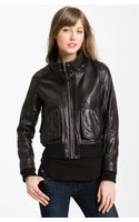 Michael by Michael Kors Knit Trim Leather Bomber Jacket - Lyst
