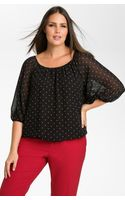 Vince Camuto Polka Dot Peasant Blouse - Lyst