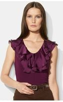 Lauren by Ralph Lauren Ruffled V-Neck Top - Lyst