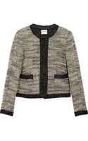 Armani Satin Trimmed Bouclé Wool Blend Jacket - Lyst