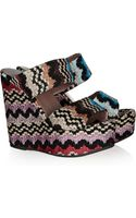 Missoni Crochet and Leather Wedge Sandals - Lyst