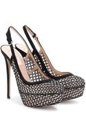 Valentino Carol Crystal Embellished Suede and Mesh Slingbacks - Lyst