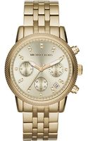 Michael Kors Midsize Golden Stainless Steel Ritz Chronograph Glitz Watch - Lyst