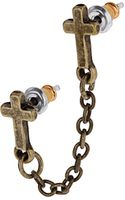Topshop Double Cross Chain Studs - Lyst