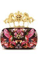 Alexander McQueen Embroidered Satin Box Clutch - Lyst